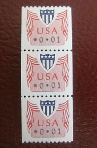 US 1992 CVP31 .01c Shield Coil Strip of 3 Mint. VF NH.