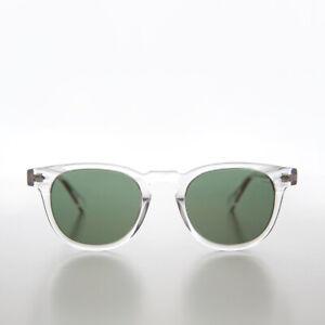 Clear James Dean Style Horn Rim Sunglasses Polarized Green Lens - Benson