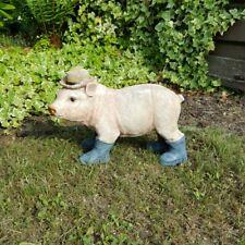 Gartenfigur Gartendeko Schwein mit Hut und Gummistiefel Gartendekoration GARD175