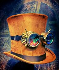 Steampunk Hat Brown Tall Bell Top Hat Holographic Goggles Fancy Dress Christmas