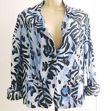 Alberto Makali Size 10 Blue Art to Wear Blazer Jacket Watercolor Zebra Print C2