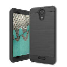 For AT&T Prepaid Radiant Core U304AA Metallic Slim Brush Hybrid Case Cover