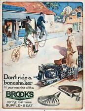 Display card advertising Brooks motorcycle seats, c 1926. OLD PHOTO
