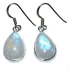 Sterling 925 SILVER Rainbow Moonstone Earrings, Pear Drop Natural Gemstones Gift