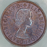 1964 GREAT BRITAIN HALF PENNY SLABBED BU STRIKING BOLD COLOR UNC TONED (MR)