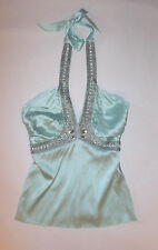 MARCIANO WOMENS HALTER TOP LIGHT BLUE EMBELLISHED SEQUIN JEWELS ZIP SIDE SIZE XS