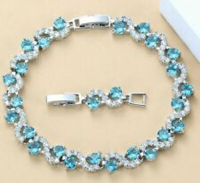 Curved Aquamarine Round Crystals White Topaz Chain Bracelet 925 Sterling Silver