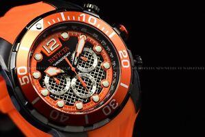 Invicta Men's 50mm Pro Diver Black Dial Orange Silicone Strap Chrono Watch