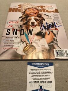 Autographed Chloe Kim sports illustrated magazine Beckett Witnessed signed