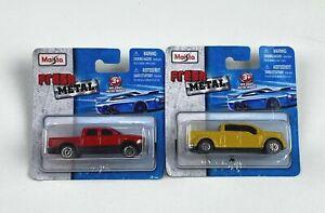 Maisto 1:64 Fresh Metal Dodge Red Ram Truck & Ford F350 Yellow Truck