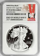 2020 Proof Silver Eagle - 75th Anniversary - Ww2 End with V75 Privy Ngc Pr70Ucam