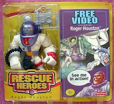 FISHER-PRICE RESCUE HEROES ROGER HOUSTON & VHS MOVIE  - 2003 - NRFB