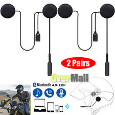 2 x Rechargeable Motorcycle Helmet Headset Speaker Mic Bluetooth Handsfree Music