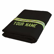 Personalized Handmade Firefighter BLACK Station Blanket With Reflective
