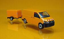 Herpa 093071 Volkswagen VW T6 Transporter mit Planen - Anhänger - kommunalorange