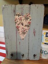 Handmade wall plaque hooks gift kitchen tea towels keys cups shabby chic