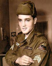 "ELVIS AARON PRESLEY ARMY UNIFORM 1960 8x10"" HAND COLOR TINTED PHOTOGRAPH"