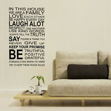 Wall Stickers Mural Decal Paper Art Decoration Family Rules Quote Living Room