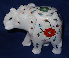 Marble Elephant Pietradura Gemstones Floral Design Inlaid Mosaic Decorative Gift