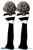 1 3 Classic BLACK WHITE KNIT POM golf club Headcover vintage Head covers Set