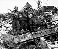 WW2 B&W Photo Christmas in Italy 1944 US Army M10 Tank World War Two WWII