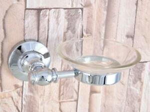 Polished Chrome Bathroom Shower Soap Dish Storage Wall Mount Glass Soap Holder
