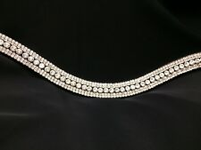 BLING DIAMANTE SPARKLY 5 ROW BROWBAND CLEAR CRYSTAL DRESSAGE BLACK FULL & COB