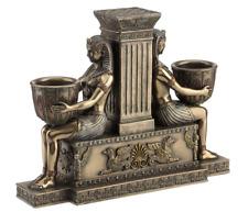 Art Deco Egyptian Twin Maiden Candle Holder Sculpture Statue Figure - HOME DECOR