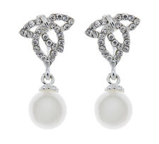 Clip On Earrings - silver plated with a drop pearl & clear crystals - Elle