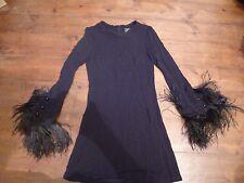 KATE MOSS BLACK TIGHT DRESS & FEATHER CUFFS, 6, TOPSHOP