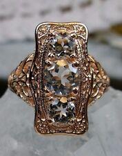 Natural White Topaz Sterling Silver & Rose Gold Edwardian Filigree Ring Size 7