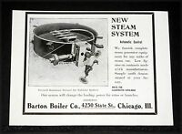 1904 OLD MAGAZINE PRINT AD, BARTON BOILER CO, AUTOMATIC CONTROL FOR STEAM CARS!