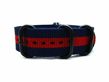 HNS ZULU 18/20/22MM Navy/Red Heavy Duty Diver Nylon Watch Strap 5 PVD Buckle
