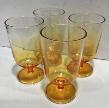 "Retro Melamine Orange Set Of 4 Water Goblets Drinkware 6""/18 Ounce Plastic Glass"