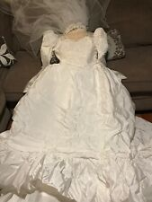 Vintage 1980's Jc Penney Wedding Dress Size 7/8 With Veil