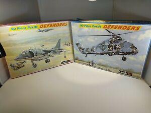 VINTAGE  DEFENDERS 2 X Plane Puzzle Bundle 90 PIECE JIGSAW  BY CASTILE Complete