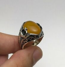 Turkish Ottoman Jewelry Yellow Star Crescent 925K Sterling Silver Men's Ring