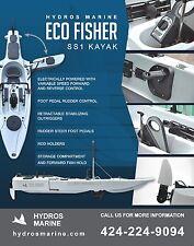 ELECTRIC / STABILIZED HYDROS KAYAK  - NEW 2016 Eco Fisher
