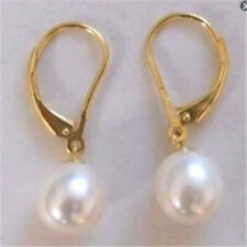10-11mm natural white south sea pearl earring 14k gold flawless earbob AAA