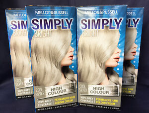 4 x Mellor & Russell Simply Bright COOL SILVER Permanent Vegan Hair Dye Colour