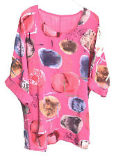 Italian Plus Size Clothes Tops for Women Galaxy Print Oversized Summer Linen Q48