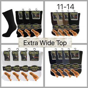Mens Diabetic Extra Wide Top Socks Big Foot 11-14, Assorted Colours, 3,6,12 Pair