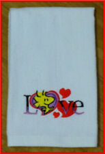 Embroidered Snoopy WOODSTOCK Love Kitchen Bathroom white cotton FINGERTIP TOWEL