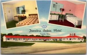 Tupelo, Mississippi Postcard TRAVELERS DELUXE MOTEL Roadside Linen c1950s Unused