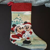 Disney Parks 2020 Mickey & Minnie Mouse Tapestry Christmas Stocking Castle