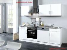Küchenzeile ohne Geräte Einbauküche ohne Elektrogeräte 220 cm hochglanz weiss