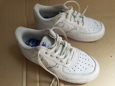 Nike Air Force 1 AF1 White Leather Kids Children Trainers Lace Up UK12 EUR30