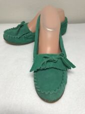 Mossimo women Slip on Slippers Shoe teal size 6 Leather Moccasins womens  L620