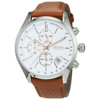 100% New Hugo Boss 1513475 Grand Prix Brown Leather White Dial Men's Watch 44mm