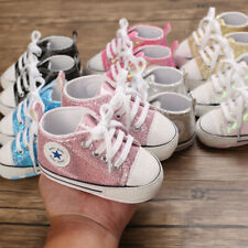 Newborn Baby Boy Girl Paillette Crib Shoes Infant Sneakers Pre Walker Trainers